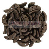 CzechMates 2 Hole Crescent Czech Glass Bead - matte dark bronze - 10mm