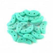 Crescent gyöngy - Kétlyukú félhold - Matte Turquoise Green - 10mm