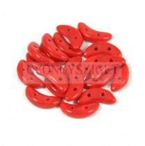CzechMates 2 Hole Crescent Czech Glass Bead - opaque red - 10mm