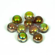 Cseh préselt kétlyukú kaboson - crystal magic green - 6mm