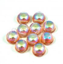 Cseh préselt kétlyukú kaboson - crystal orange rainbow - 6mm