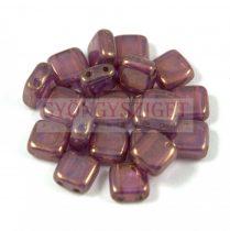 Tile gyöngy -  White Opal Purple Bronze Luster - 6x6mm