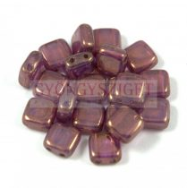 Tile gyöngy -  White Opal Purple Bronze Luster - 6x6mm