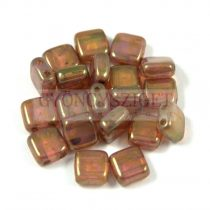 Tile gyöngy - Rose Bronze Opal - 6x6mm