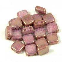 Tile gyöngy - alabástrom lila arany lüszter-6x6mm