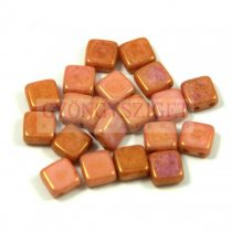 Tile gyöngy - Alabaster Peach Gold Luster - 6x6mm - 100db