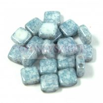 Tile gyöngy -  White Alabaster Blue Terracotta - 6x6mm