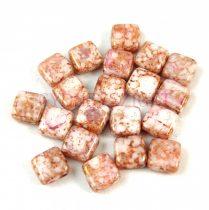 Tile gyöngy -  White Alabaster Pink Terracotta - 6x6mm - 100db - AKCIOS