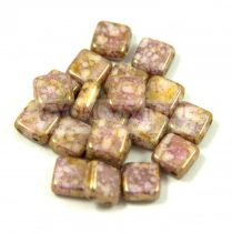 Tile gyöngy -  White Alabaster Pink Bronze - 6x6mm
