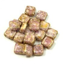 Tile gyöngy -  White Alabaster Pink Bronze - 6x6mm