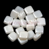Tile gyöngy - Gold Shine White Alabaster - 6x6mm
