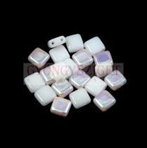 Tile gyöngy -  White Alabaster AB - 6x6mm