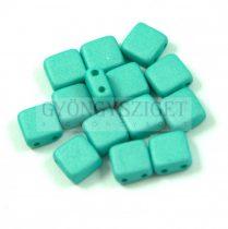 Tile gyöngy - silk satin turquoise green - 6x6mm