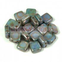 Tile gyöngy -  Alabaster Green Brown Luster - 6x6mm