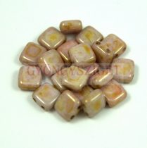 Tile gyöngy -  Rose Bronze Alabaster - 6x6mm