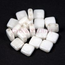 Tile gyöngy -  White Alabaster Luster - 6x6mm