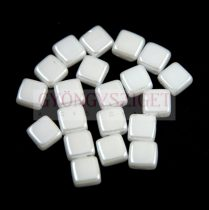 Tile gyöngy -  White Alabaster Pearl Luster - 6x6mm