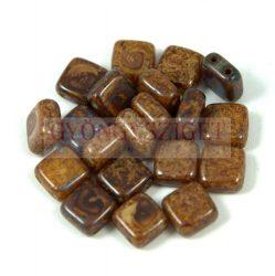 Tile gyöngy - Opaque Cream Marble - 6x6mm