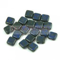 Tile gyöngy -  Opaque Sapphire Picasso - 6x6mm