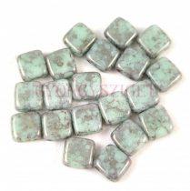 Tile gyöngy -  Mint Silver Marble - 6x6mm