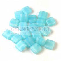 Tile gyöngy -  Trans Turquoise Blue Matt - 6x6mm