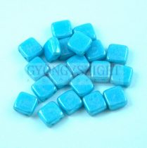 Tile gyöngy -  Opaque Turquoise Blue Luster - 6x6mm