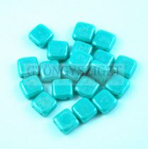 Tile gyöngy -  Opaque Turquoise Green Luster - 6x6mm
