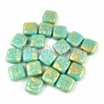 Tile gyöngy -  Opaque Turquoise Green Gold Patina - 6x6mm
