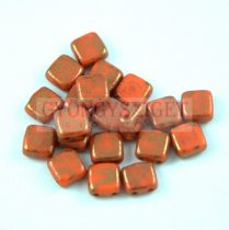 Tile gyöngy -  Coral Purple Bronze Luster - 6x6mm - 100db - AKCIOS
