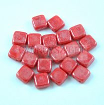 Tile gyöngy -  Opaque Red Luster - 6x6mm