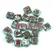 Tile gyöngy -  Dark Red Travertin - 6x6mm