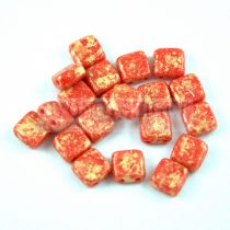 Tile gyöngy - Coral Red Gold Patina - 6x6mm
