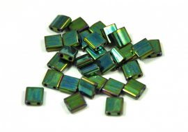 Miyuki tila gyöngy - 468 - Gold Lustered Metallic Green Iris - 5x5mm