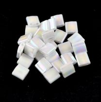 Miyuki tila gyöngy - 471 - Pearl White AB - 5x5mm