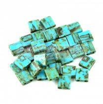 Miyuki tila gyöngy - 4514 - Opaque Turquoise Blue Picasso - 5x5mm - 10g - AKCIOS