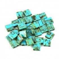 Miyuki tila gyöngy - 4514 - Opaque Turquoise Blue Picasso - 5x5mm