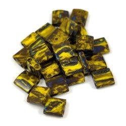 Miyuki tila gyöngy - 4519 - telt sárga picasso - 5x5mm