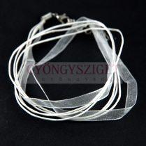Textil / Organza nyakláncalap - feher - delfinkapoccsal - 46 cm