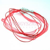 Textil / Organza nyakláncalap - piros - delfinkapoccsal - 46 cm