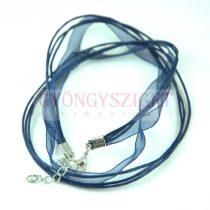 Textil / Organza nyakláncalap - sötétkék - delfinkapoccsal - 43 cm