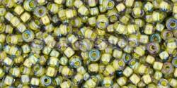 Toho kásagyöngy - 246 - sárga közepű lüszteres black diamond - 11/0