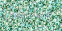 Toho kásagyöngy - 699 - fűzöld közepű kristály ab - 11/0