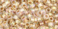 Toho Round Japanese Seed Bead  -  994  -  Gold Lined Rainbow Crystal  -  size: 8/0