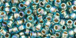 Toho kásagyöngy - 995 - Arany Közepű Szivárványos Aqua