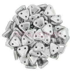 Cseh kétlyukú háromszög gyöngy - Aluminium -6mm