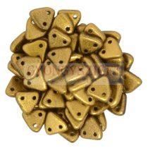 Cseh kétlyukú háromszög gyöngy - Matt Antique Gold -6mm