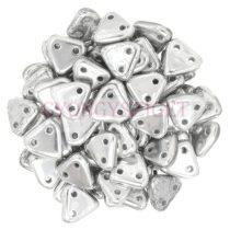 Cseh kétlyukú háromszög gyöngy - Silver -6mm