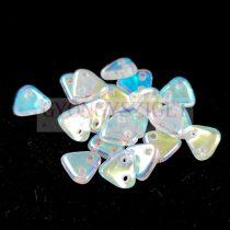 Cseh kétlyukú háromszög gyöngy - Crystal AB - 6mm