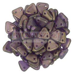 Cseh kétlyukú háromszög gyöngy -  Transparent Matt Amethyst Gold Luster - 6mm