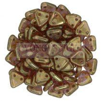 Cseh kétlyukú háromszög - Rose Gold Topaz Luster -6mm